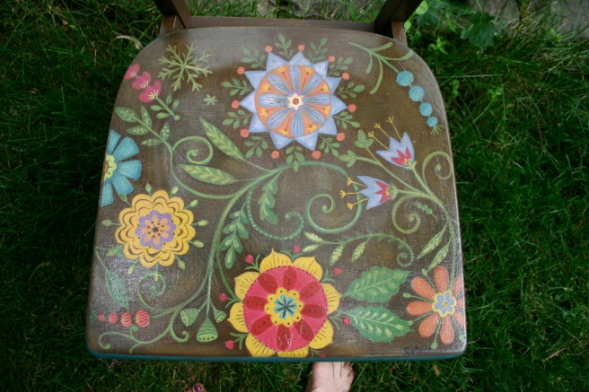 re-surfaced and handpainted vintage library chair for White Bear Center for the Arts