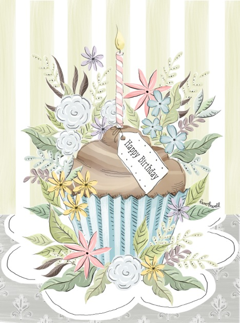 2 Floral Cupcake Birthday